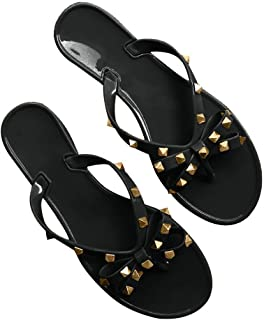 Womens Bow Flip Flop Sandals Studded Jelly Shoes Summer Beach Thong Slippers