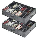 Under Bed Shoe Storage Organizer for Closet Fits 24 Pairs - Breathable Underbed Shoes Container Bag with Clear PVC Cover and 2 Zippered,Set of 2(Grey)