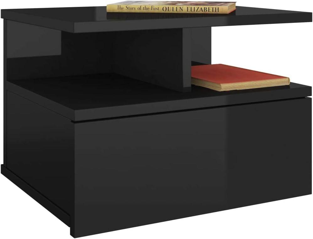vidaXL 2X Mesitas Noche Flotante Aglomerado Mobiliario Hogar Decoraci/ón Dise/ño Sencillo Elegantes Funcionales Pr/ácticos Compactos Negra 40x31x27cm