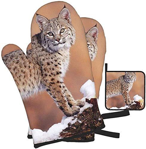 MODORSAN Canada Lynx - Juego de Manoplas para Horno y Soportes para ollas, Juego de 3 Piezas, Adecuado para cocinar en la Cocina, Guantes Resistentes al Calor para Asar a la Parrilla