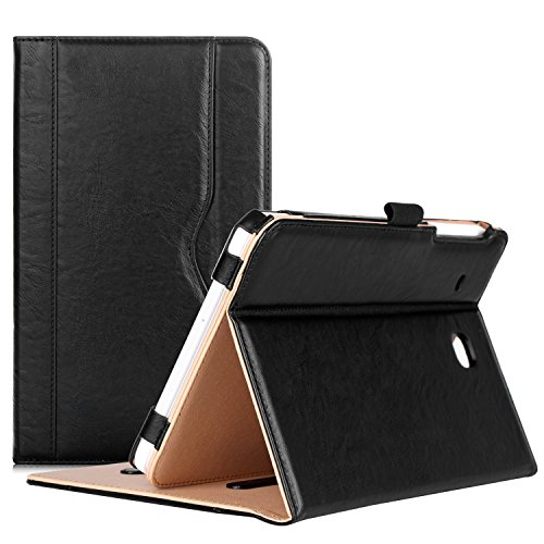 Procase Galaxy Tab E 8.0 Case - Leather Stand Folio Case Cover for Galaxy Tab E 8.0 4G LTE Tablet (Sprint,US Cellular, Verizon) SM-T377, Multiple Viewing Angles, Document Card Pocket (Gold)