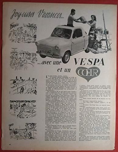 """1958 VESPA 400 COUPE DECOUVRABLE"""" Joyeuses Vacances."""" VINTAGE LARGE NON-COLOR ARTICLE SINGLE PAGE - FRENCH - GREAT ORIGINAL !!"""