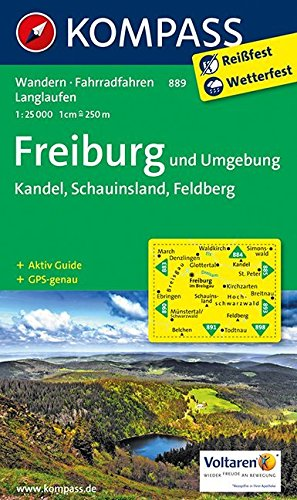 Freiburg und Umgebung - Kandel - Schauinsland - Feldberg: Wanderkarte mit Aktiv Guide, Radwegen und Loipen. GPS-genau. 1:25000 (KOMPASS-Wanderkarten, Band 889)
