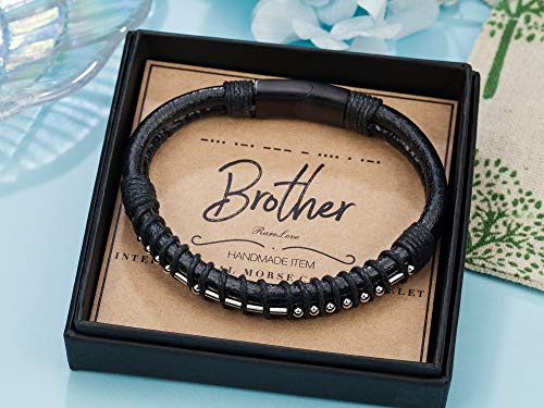 Brother Morse Code Mens Leather Bracelet 3