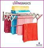 LIVINGBASICS® 9 ROD - Rust-free Stainless Steel Wall Mounted/Mounting Clothes Drying Stand/Cloth Dryer