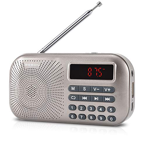 GESON RM-155Pro AM FM Radio Portable Mini USB Speaker MP3 Music Player Supports Micro SD TF auto scan Save LED Display USB Data Transmission and Sound Card Function, Rechargeable BL-5C Battery (Gold)
