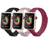 FUUI Correa Compatible con Apple Watch 38mm 42mm 40mm 44mm, Pulseras de Repuesto de Silicona Suave para iWatch Series 6 5 4 3 2 1 SE, Mujer y Hombre(3 Pack)(38mm/40mm S/M, Oro Rosa/Vino Rojo/Negro)