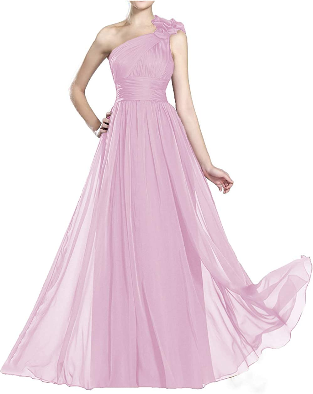 Lover Kiss One Shoulder A-line Chiffon Bridesmaid Dresses Long Pleated Formal Evening Dress for Womems B004