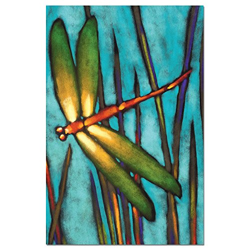 """Tree-Free Greetings EcoNotes Stationary- Blank Note Cards with Envelopes, 4"""" x 6"""", Beautiful Dragonfly, Boxed Set of 12 (FS66501)"""