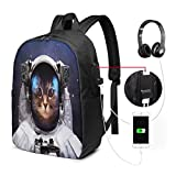 Laptop Backpack Travel with USB Charging Port School Bag 17 in, Milkyway Galaxy Space Traveller Cat in Suit with Stars Backdrop Image