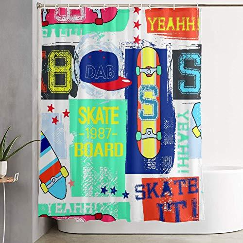 VINISATH Duschvorhang,Nahtloses abstraktes Sommermuster mit Skateboard,wasserdichter Badvorhang mit 12 Haken Duschvorhangringen 180x180cm