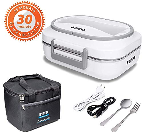 N\'OVEEN Elektrische Lunchbox LB510 Speisenwärmer, Thermo lunchbox Heizplatte mit 1 Liter Fassungsvermögen – 230V + 12V (Auto) - Food Box Warmhalteplatte bis 60°C für Ausflüge, Camping und Urlaub(Grau)