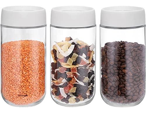 Barattoli Vetro per Alimenti con Coperchio - Set da 3 Barattoli Cucina in Vetro – Contenitori Alimentari per Frutta secca, 800 ml - KitchenGet