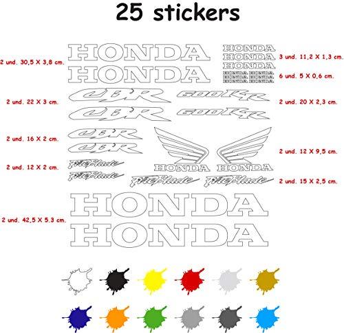 Aufkleber-Set für Motorrad, Vinyl, 7 Jahre, vorgestanzt, kompatibel mit Honda CBR 600 RR, enthält 25 Aufkleber (weiß)