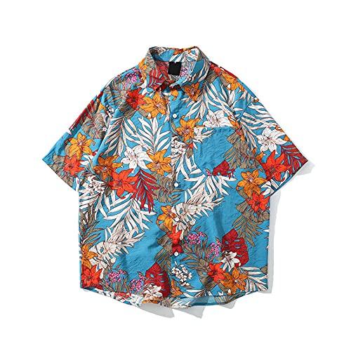 Qier Tshirt Herren,Hawaii-T-Shirt,Oversize Graphic Summer Holiday Beach Casual Tee,Floral Vintage Tops,Blau,M