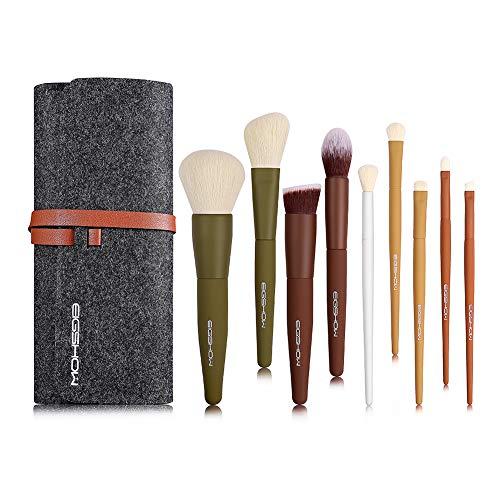 Makeup Brushes, EIGSHOW 5 Color Essential Kabuki Travel Makeup Brush Set with Extra-soft Synthetic Fibers for Powder Blush Concealers Contouring and Highlighting Applications - Vegan & Cruelty Free