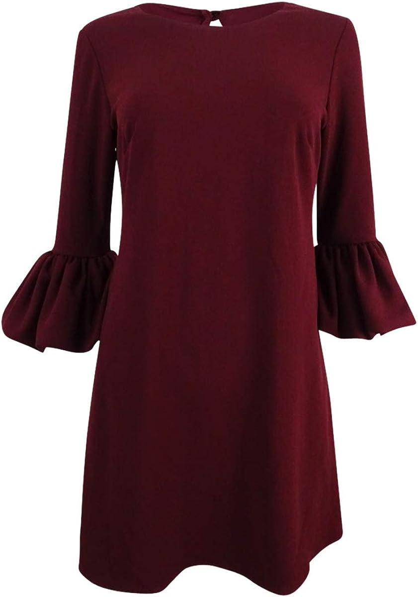 Betsy & Adam Women's Petite Bell-Sleeve A-Line Dress