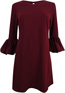Betsy & Adam Women's Petite Bell Sleeve A-Line Mini Dress