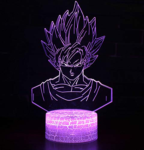 3D Lámpara óptico Illusions Luz Nocturna, CKW 7 Colores Cambio de Botón Táctil y Cable USB para Cumpleaños, Navidad Regalos de Mujer Bebes Hombre Niños Amigas (Dragon ball 6)