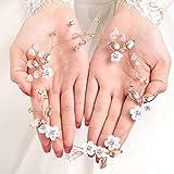 Fairvir Brautschmuck Hochzeit Haar Ranke Blume Gold Blatt Sparky Braut Seite Kristall Kopfschmuck Haarschmuck für Frauen und Mädchen (Rose Gold)
