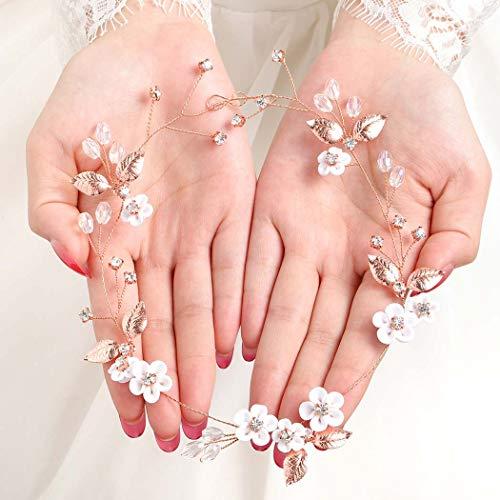 Fairvir Brautschmuck Hochzeit Haar Weinrebe Blume Gold Blatt funkelnd Braut Seite Kristall Kopfschmuck Haarschmuck für Frauen und Mädchen