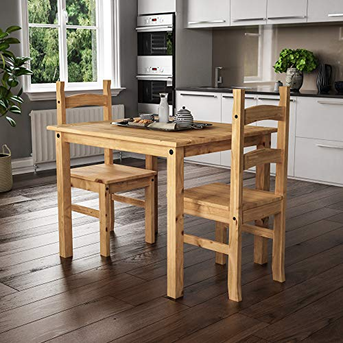 Vida Designs Corona Dining Set 2 Seater, Solid Pine Wood, Dining Table With 2 Chairs
