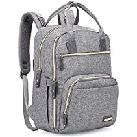 Iniuniu Large Unisex Baby Bags Multifunction Travel Backpack with Changing Pad and Stroller Straps (Gray)