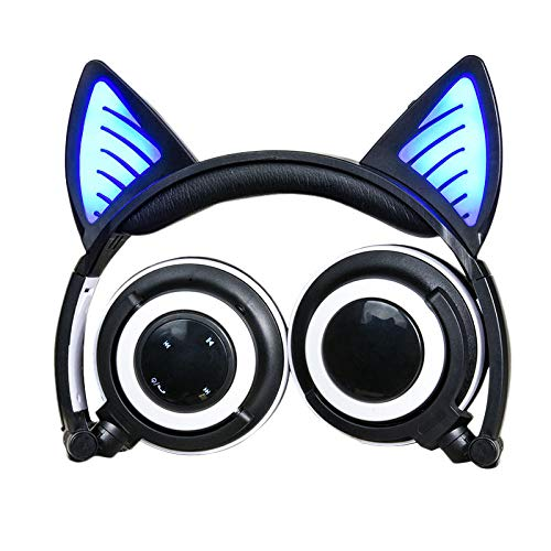 Auricolare Bluetooth Cat Ear Glowing Auricolare Pieghevole Auricolare Bluetooth Wireless Nero