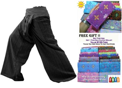 Zenza Fashion Thai Fisherman Pants Yoga für Damen 2Tönen ohne Größe mehr Größe aus Baumwolle gestreift