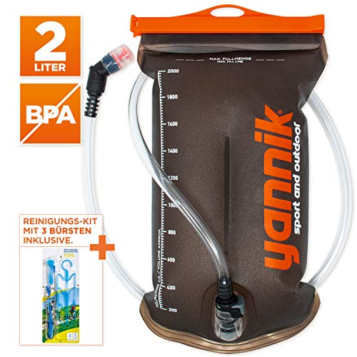 YANNIK Sistema di Idratazione 2L con Valvola a morso + Kit di Pulizia | Sacca Acqua in TPU | Contenitore di Idratazione per Lo Zaino, Antibatterico St