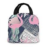 Bolsa de almuerzo aislada con estampado de flamenco rosa y hojas para mujeres,...
