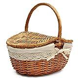 Cesta de picnic de mimbre hecha a mano Cesta de almacenamiento de compras que acampa con doble tapa y mango - Color de madera grande