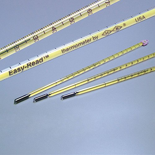 "Easy-Read Enviro-Safe Partial Immersion Thermometer (-20 to 110 C), 12"" Long"