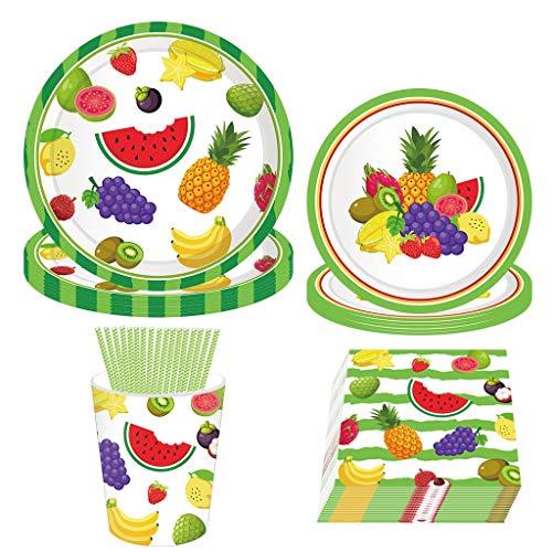Amycute 69 pcs Juego de Cubiertos Desechables de Frutas, Set de vajillas...