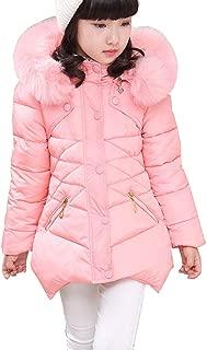 RUOGU Girls Winter Coat Jacket,Toddler Kids Cotton Jackets Snowsuit Hooded Windbreaker with Soft Fur Hoodies for Girls
