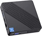 Mini PC Fanless Intel Celeron N4000 (up to 2.6GHz) 4GB DDR/64GB eMMC Mini Desktop Computer Windows 10 Pro HDMI and VGA Port 2.4/5.8G WiFi BT5.0 3xUSB3.0 Support Linux,NGFF 2242 SSD