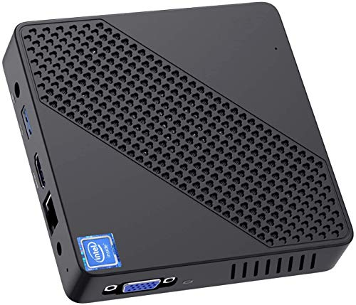Mini PC sin Ventilador Intel Celeron N4000 (hasta 2.6GHz) 4GB DDR / 64GB eMMC Mini computadora Windows 10 Pro Puerto HDMI y VGA 2.4/5.8G WiFi BT5.0 3xUSB3.0 Soporte Linux, M.2 2242 SSD