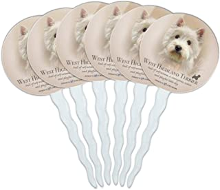 GRAPHICS & MORE West Highland Terrier Westie Dog Breed Cupcake Picks Toppers Decoration Set of 6