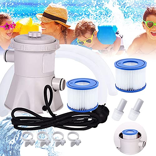 Bili-silly Electric Swimming Pool Filter Pump for Pools Cleaning Tool,300 Gallons Cartridge Pool Filters Pool,Swimming Pool Filter Pump,Household Inflatable Pool Filters Pump with Two Filter Elements