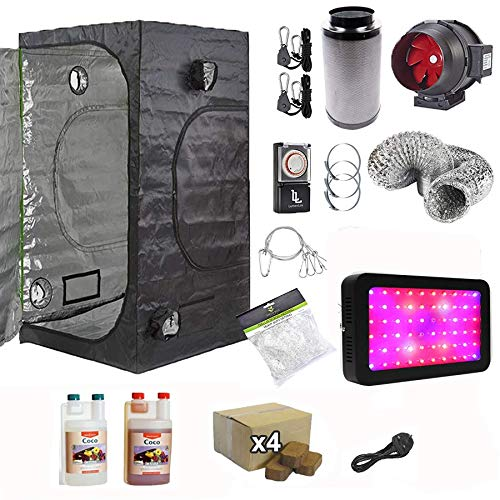 Gardeners Corner Full Spectrum LED 1.2x1.2x2m Grow Tent Kit With Coco Coir Blocks & Fox Twin Speed Filter Kit & Timer & Plant Support Net & Canna Nutrients
