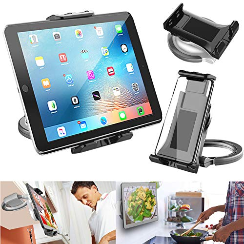 2 in-1 Kitchen Tablet Stand wall mount under cabinet ipad mount Universal holder stand for 4.7' to 11' iPad/Tablet/iPhone/Surface Pro