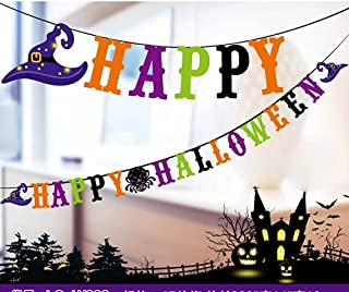 ZZX Happy Halloween Banner Birthday Decorations - Black Party Paper Bunting with Pumpkin Sign - Fall Halloween Decor Outdo...