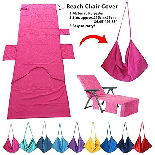 Laxllent Mikrofaser Schwimmen Strandtuch, Strandstuhl Handtücher,Liege Mate, Schnell Trocknend,für Strand Camping Garten mit Taschen,Hot pink,215x75cm