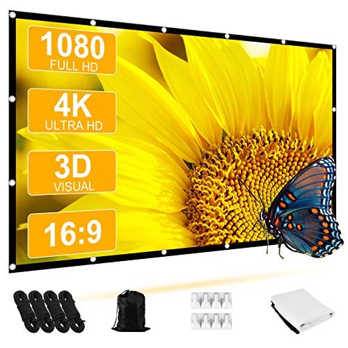 Projector Screen, STRENTER Outdoor Movie Screen 120 Inch 4K HD 16:9 4 Ropes Foldable Wrinkle-Free Portable Video Projection Screen for Outdoor Indoor Home Theater Support Front & Rear Projection