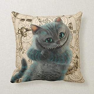 CELYCASY - Funda de cojín Decorativa con diseño de Gato de Cheshire de Alicia Thru el Aspecto de Cristal, para sofá o Dormitorio, 45,7 x 45,7 cm
