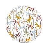 Zemivs Set di 4 tavoli Rotondi Tappetini Palma da Cocco Foresta Tropicale Tovaglietta Impermeabile Tovaglietta 15,4 Pollici Facile da Pulire per Cucina Tavolo da Pranzo Festa per Le Vacanze