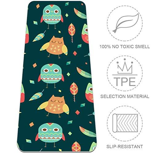 Shiiny Tapis de yoga avec motif chouette haute densité 6 mm d'épaisseur – Multi-usage, durable et confortable avec sac de tapis de yoga, 72 x 24 cm, tapis pour yoga, pilates et remise en forme