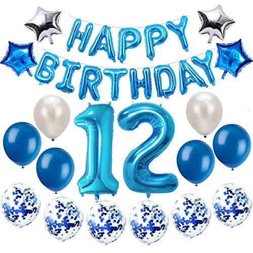 Oumezon 12 Geburtstag Dekoration Blau, 12. Geburtstag deko für Mädchen Jungen Happy Birthday Girlande Banner Folienballon Konfetti Luftballons Deko Geburtstag Party Anzahl Ballons