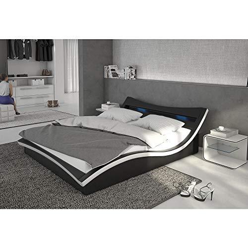 INNOCENT Polsterbett aus Kunstleder inkl. Lattenrost und LED-Beleuchtung Magari schwarz, 140x200 cm