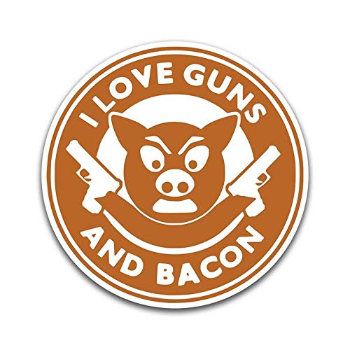 More Shiz I Love Guns and Bacon Funny Vinyl Decal Sticker - Car Truck Van SUV Window Wall Cup Laptop - One 5 Inch Decal - MKS0879